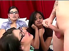 Classy CFNM babe gives amateur dude a blowjob
