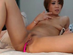 Busty Asian babe toys her pussy on webcam
