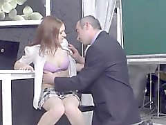 Kissable schoolgirl was seduced and plowed by her older scho