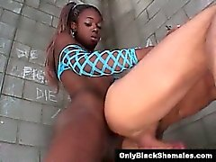 Black shemale Aiemee fucks a guy in jail