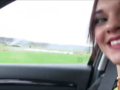 Lea Guerlin rides cock in the car