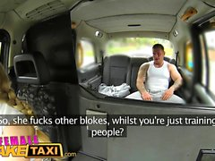Female Fake Taxi Stud covers drivers big tits in cum
