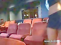 Cinema Security Guy Catches Blonde Stunner After Hours And Strains Her Sphincter And Punctures Her Pussy On The Comfy Chairs