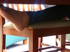 A Friend's Candid Ebony Barefeet in Library 2
