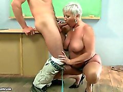Old teacher fucking her slim teen student