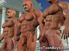 3D homo med Big tuppar och Musklerna !
