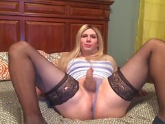 Blonde in lingerie masturbating