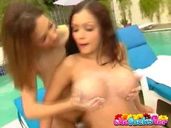 Ultra sexy lesbian Aria Giovanni playing with a busty