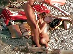 amateur strapon on the beach
