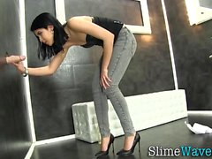 Glam slut gets bukkaked