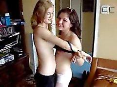 Two Cute Russian Teen Show Nice Body
