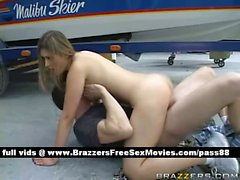 Amazing naked blondeslut at a car workshop gets her wet pussy fucked