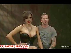 Transsexual Domina ties and humiliates a guy slave