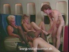 80ies vintage girls enjoy sex in airplane
