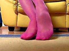 Janet Strumpfhosen Füße in der Nähe