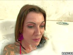 Chayse Evans gets her feet banged in the bathroom