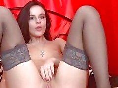 Vackra Babe färgar sitt Juicy Pink Pussy Lips HD