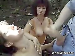 Ass 2 Mouth Threesome Outdoors At A Park
