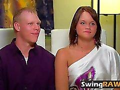 Horny Pareja Disfruta Hardcore Swing Orgía