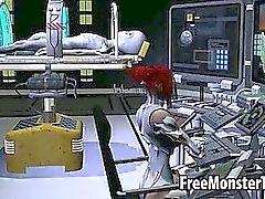 Délicieux babe rouquine en 3D se fait baiser par un étranger