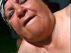 Fat Granny Outdoors Fucked