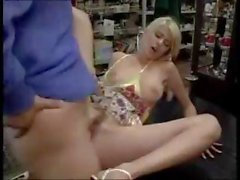 Blonde works the cock of an antiques dealer with her brunette girlfriend
