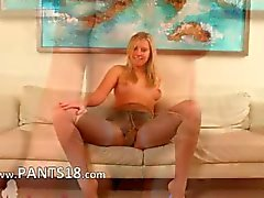 Blonde babysitter on white leather couch