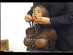 Very cute Andrea Neal is bound, gagged and blindfolded, wearing a sexy outfit
