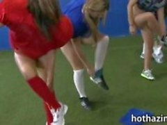 Bunch of naughty amateur girls football game and munching