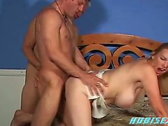 Big tit 50plus MILF fucked by 2 bisex guys