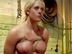 Bondaged Blonde Girl Hanging Getting Whipped Feet Tortured With Stick Pussy Stimulated With Vibrator In The Basement