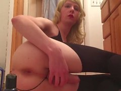 Sissy toys tight ass with glass dildo