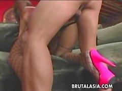 Hot stockings wearing busty ass bitch gets ass fuc