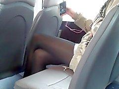Bus voyeur sexy legs
