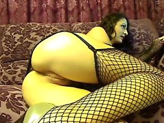 Attractive hot-babe in fishnet outfit proposition on cam