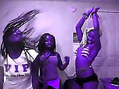 Three ebony chicks are posing and having fun showing their