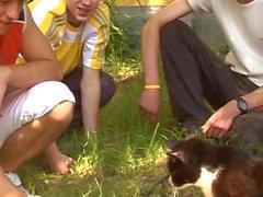 divertido rapazes jovens no jardim