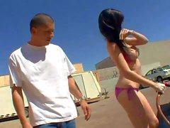 Bikini girl Skyla Shy gets fucked after washing a car