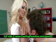 Jazy Berlin busty blonde schoolgirl blowjobs and gets licked