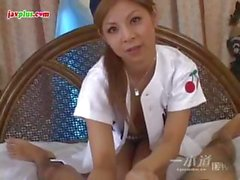 Cute Asian girl in baseball uniform masturbates and sucks cock