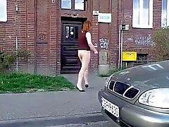 Naked Polish girl on the street.