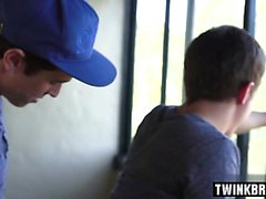 Hot twinks spanking and swallow