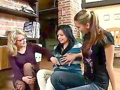 Linda, Mary and their teacher masturbate on stairs