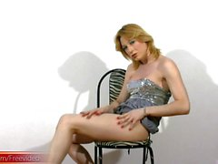 Horny shemale poses in dress and panties and jerks ladystick