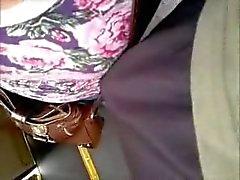 het aanraken van borsten met dick in bus