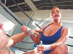 Busty blonde Shyla Stylez does some hardcore training