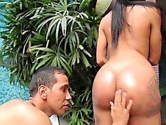Bikini shemale got her ass rimmed