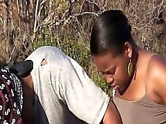 Ebony couple fucks in their car