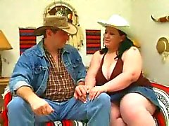 Fat pale cowgirl getting all holes fucked