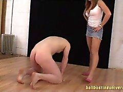 Сate kicks in the balls horny guy